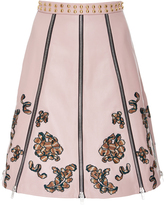 Rodarte Embroidered Leather Paneled Skirt