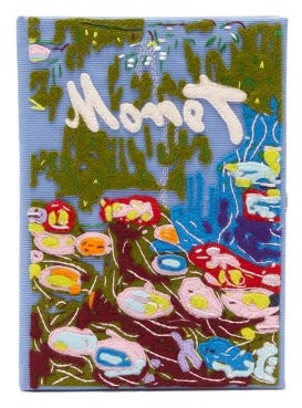 Olympia Le-Tan Monet Water Lillies Embroidered Book Clutch - Blue Multi