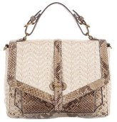 Tory Burch 797 Embossed Leather-Accented Raffia Satchel