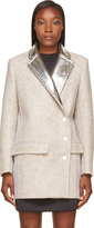 Paco Rabanne Grey Wool and Silver Foil Coat