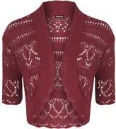 WearAll Womens Knitted Bolero Short Sleeve Shrug - 4-6