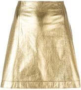 Theory metallic A-line skirt - women - Lamb Skin - 2