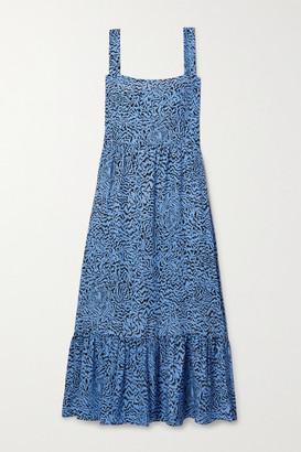HVN Olympia Tiered Printed Silk Midi Dress - Blue