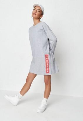 Missguided Gray Hem Basic T Shirt Dress
