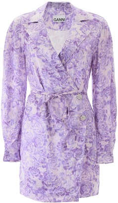 Ganni Floral Wrap Mini Dress