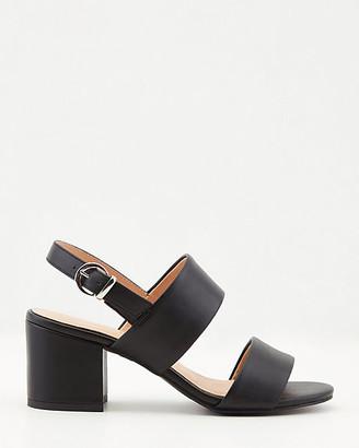 Le Château Faux Leather Block Heel Sandal