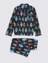 Marks and Spencer Pure Cotton Bailed Robot Pyjamas (1-16 Years)
