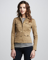 Tory Burch Shrunken Sergeant Jacket, Clay Beige