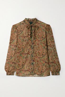 Nili Lotan Miera Pussy-bow Ruffled Paisley-print Silk-chiffon Shirt
