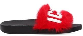 DSQUARED2 20mm Logo Lapin Fur Slide Sandals