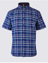 Blue Harbour Pure Cotton Checked Oxford Shirt