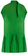 DELPOZO Tie-neck drop-waist silk dress