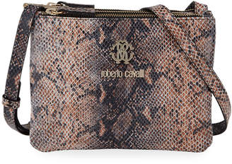 Roberto Cavalli Snake-Print Zip Trio Shoulder Bag
