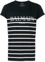Balmain logo print striped T-shirt