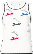 Thom Browne Shell Top With Crochet Ice Skate Applique In Fine Merino Wool