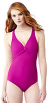 Classic Women's Shaping V-neck One Piece Swimsuit-Deep Sea/White