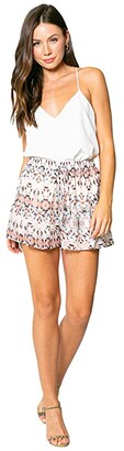 Lavender Brown Ethnic Printed Pull-On Shorts with Ruffle Hem (Taupe/Blue/Brown) Women's Shorts