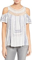 Lucky Brand Women's Cold Shoulder Crochet Top