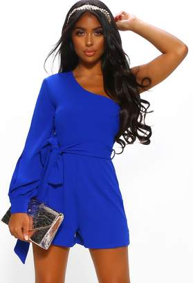 Pink Boutique Love Control Cobalt Blue One Shoulder Cut Out Playsuit
