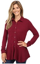 Mod-o-doc Slub Jersey Long Sleeve Button Front Tunic Women's Long Sleeve Button Up