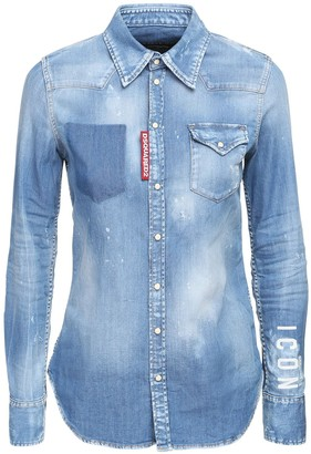 DSQUARED2 Icon Stretch Cotton Denim Shirt