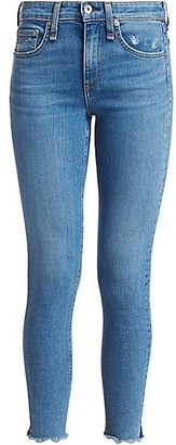Rag & Bone Cate Mid-Rise Raw Hem Ankle Skinny Jeans