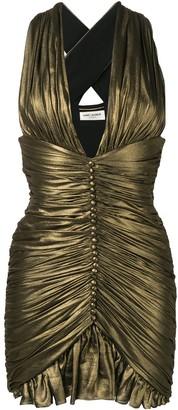 Saint Laurent Gathered dress in crepe chiffon