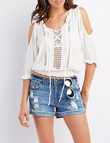 Charlotte Russe Crochet Inset Cold Shoulder Top