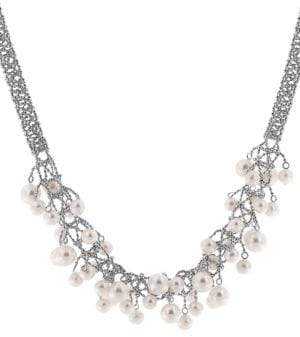 Effy Pearl Lace 925 Sterling Silver and Freshwater Pearl Necklace