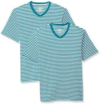 Amazon Essentials Loose-Fit Short-Sleeve Stripe V-Neck T-Shirts (Pack of 2) XS
