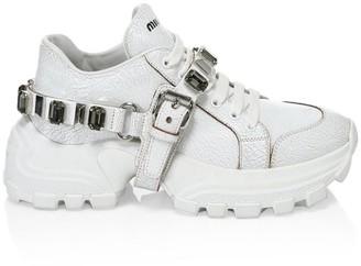 Miu Miu Miu Monstar Jewelled Leather Sneakers