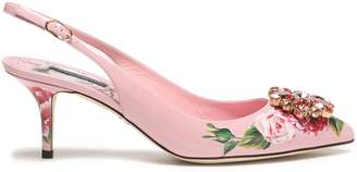 Dolce & Gabbana Embellished Floral-print Patent-leather Slingback Pumps