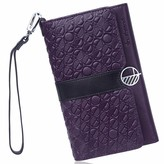 Drew Lennox Purple & Black English Leather Clutch Bag Travel Wallet