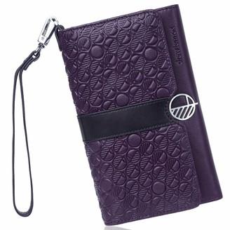 Drew Lennox Purple & Black English Leather Clutch Bag Travel Wallet