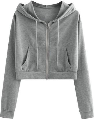 Xi Bo Crop Hoodies Zip Up for Women's Basic Aesthetic Cute Casual Solid Long Sleeve Pocket Shirt Drawstring Hooded Sweatshirt Tops Gray