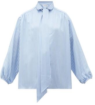 Balenciaga Logo-print Striped Satin Blouse - Womens - Blue