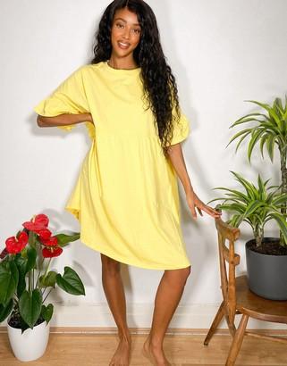 ASOS DESIGN super oversized frill sleeve smock dress in lemon