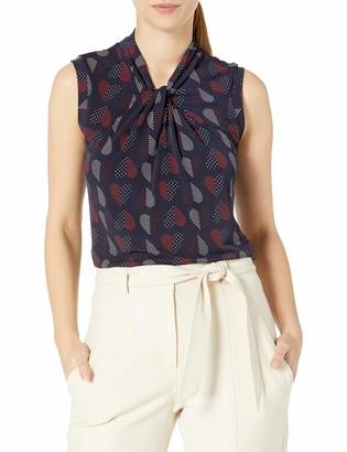 Tommy Hilfiger Women's Heart Print Knot Neck Sleeveless Top