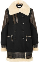 Altuzarra Ismir Shearling And Leather-trimmed Wool-blend Felt Coat - Black