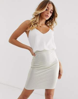 TFNC 2 in 1 cami top and metallic skirt-Gold