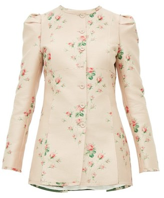 Brock Collection Floral-jacquard Single-breasted Satin Jacket - Womens - Pink Multi