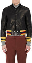Gucci Men's Leather Appliquéd Shrunken Varsity Jacket