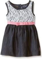 U.S. Polo Assn. Baby Girls' Denim Sundress with Lace Crochet Overlay