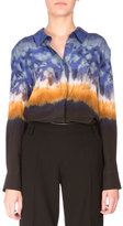 Altuzarra Adams Long-Sleeve Tie-Dye Blouse, Ceramic Blue