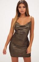 PrettyLittleThing Gold Metallic Cowl Neck Bodycon Dress