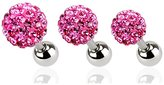 Nose Ring Bling 316L Surgical Steel 3 PACK Pink Disco Crystal Balls Ear Cartilage Ring Stud Jewelry 16G