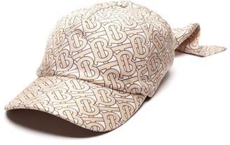 Burberry Monogram Logo-print Silk Bandana Cap - Beige Multi