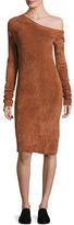 Helmut Lang Long-Sleeve Velveteen Sheath Dress, Burnt Umber