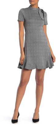 Nanette Lepore Tie Neck Plaid Print Ruffle Hem Dress