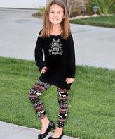 Beary Basics Black 'Merry Little Christmas' & Leggings - Toddler & Girls